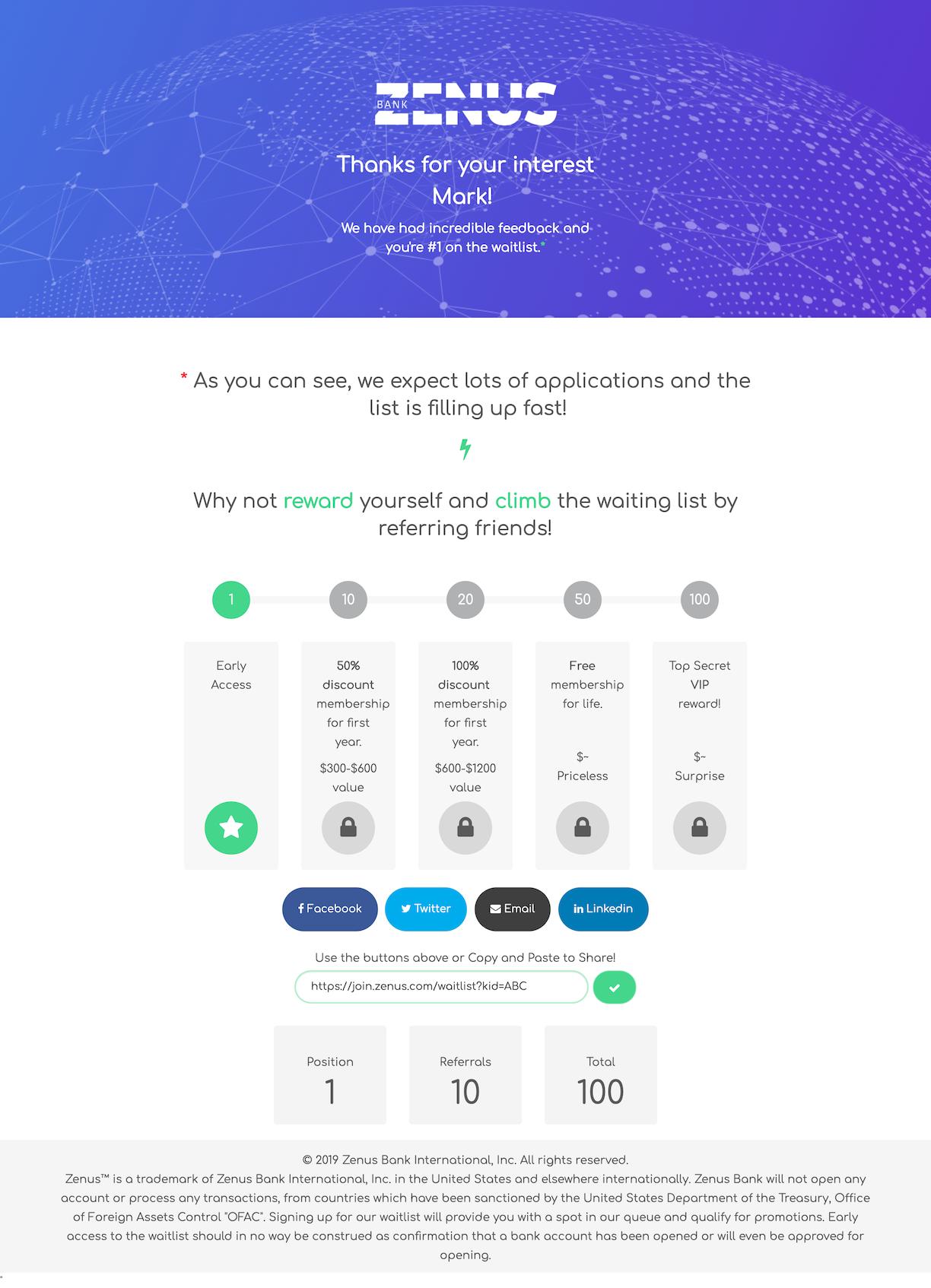 Zenus Reward Level Page to Encourage Sharing