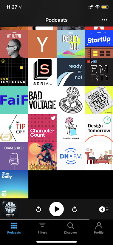 Screenshot of podcasts