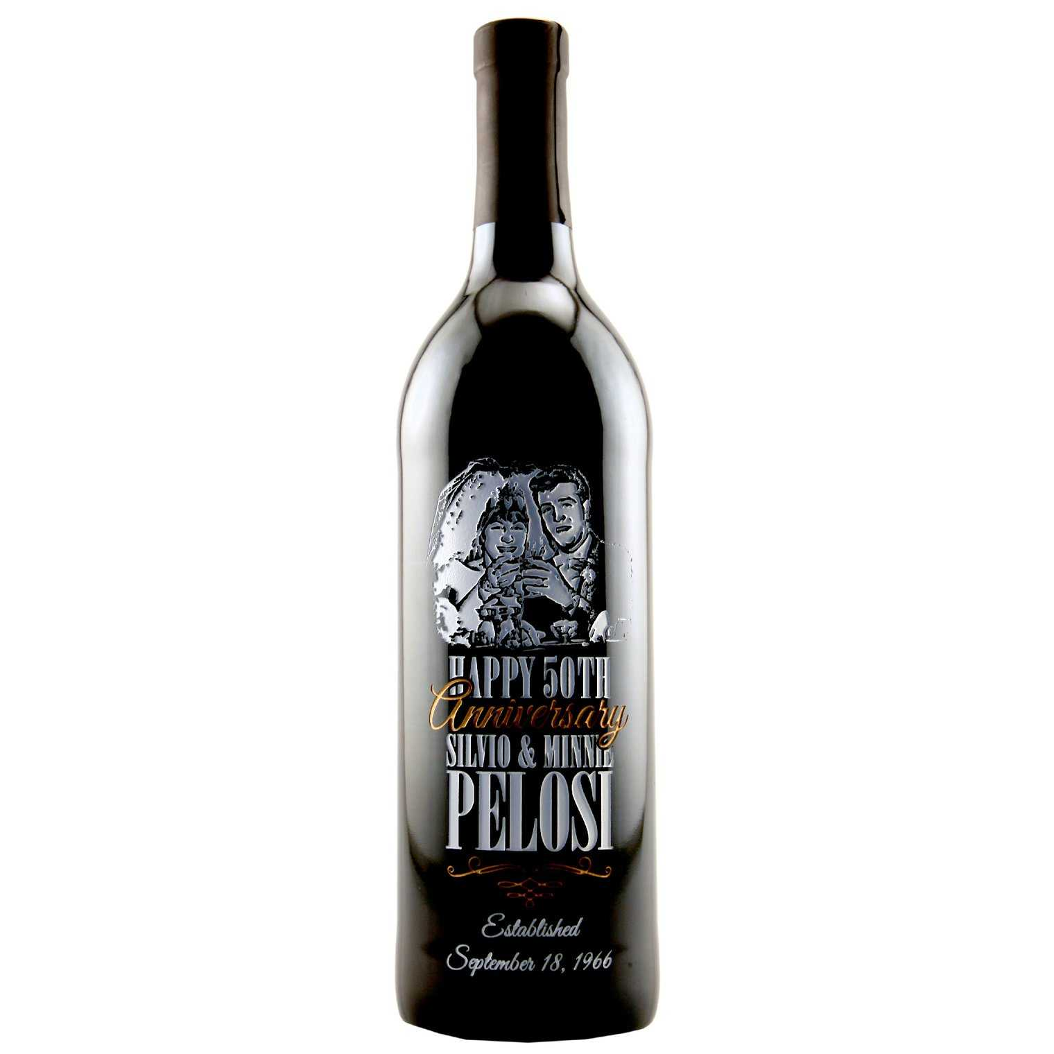 Custom 50th wedding anniversary wine bottle