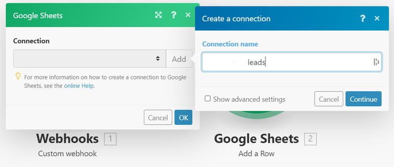 Add Google sheets in Integromat as a new module