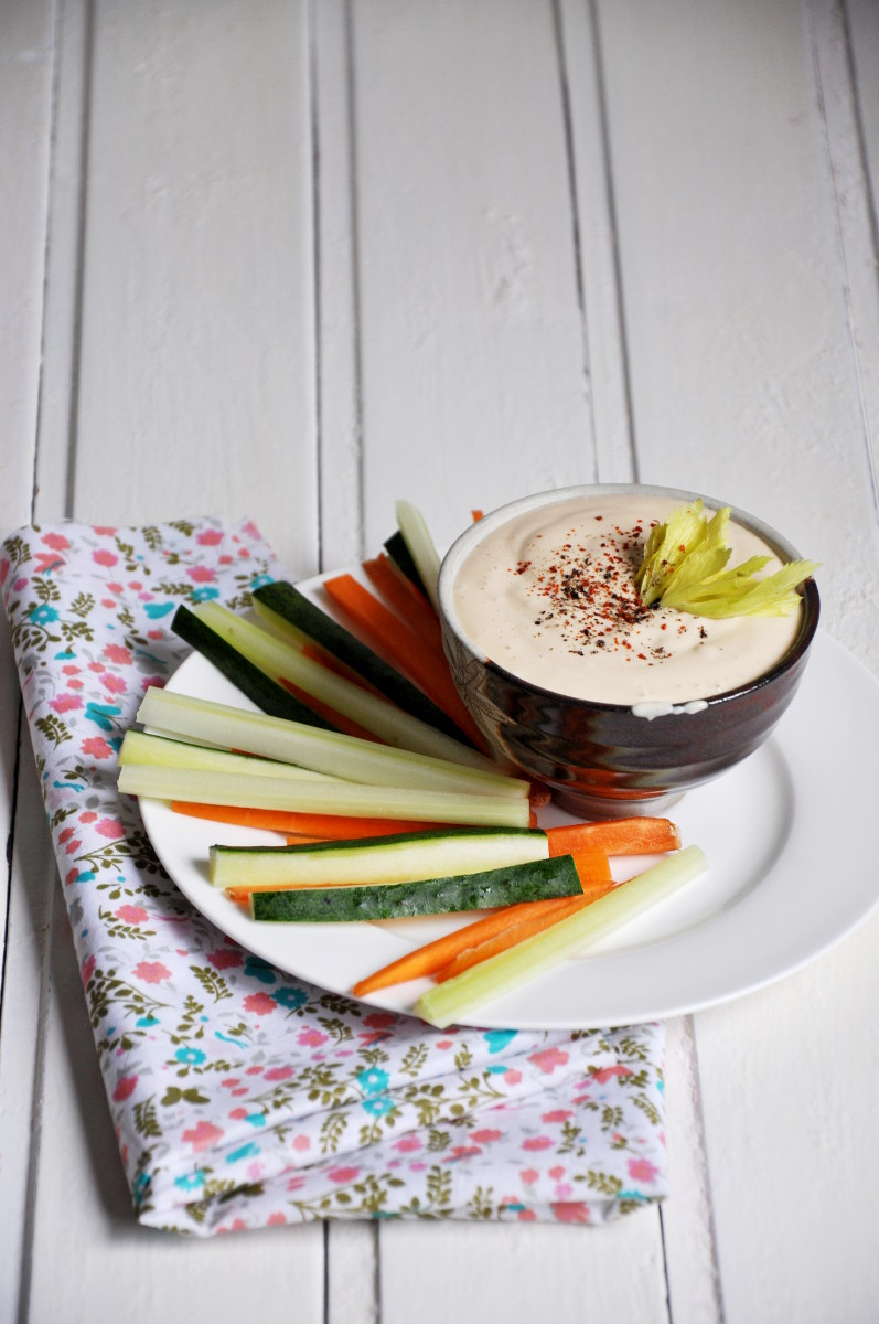 Peanut Butter Tofu Dip with Julienned Veggies