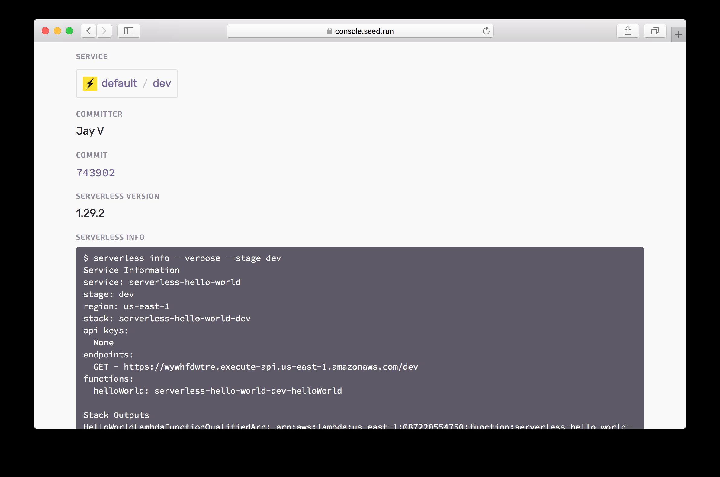 Serverless build details in Seed