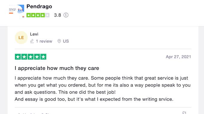 positive Pendrago reviews at Trustpilot