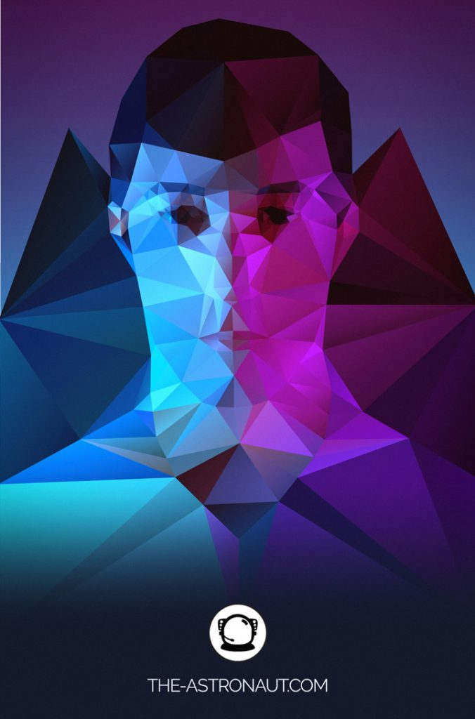 Low-polygon self-portrait looking straight on with blue and purple lighting
