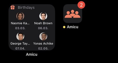 Small contact list widget and badge count