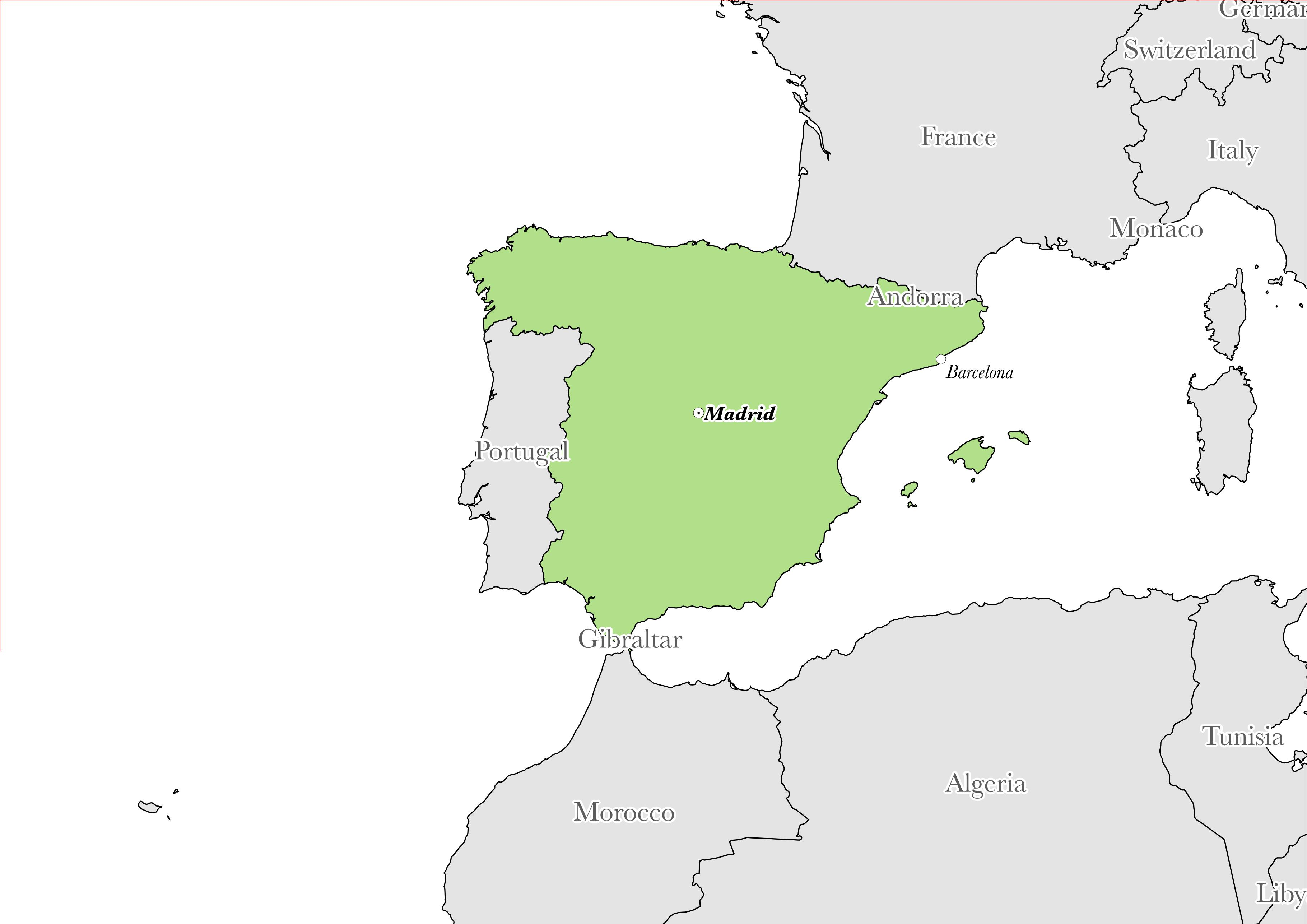 Map showing the location of Spain