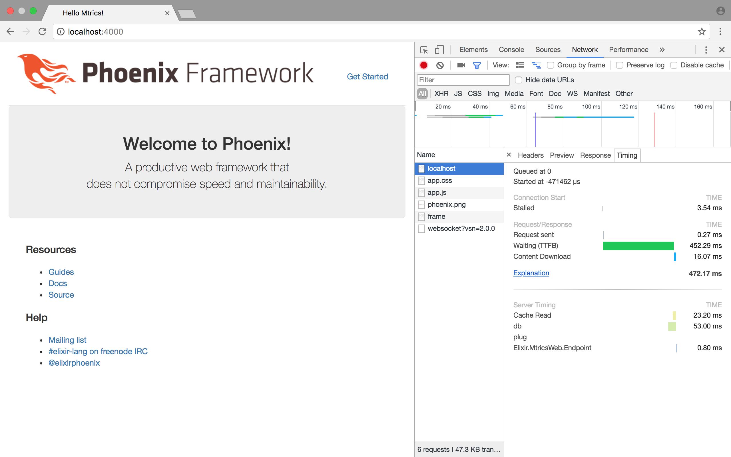 Example measure of the phoenix app described