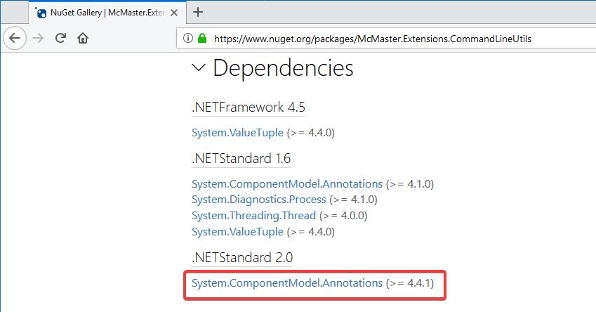 Dependencies of McMaster.Extensions.CommandLineUtils