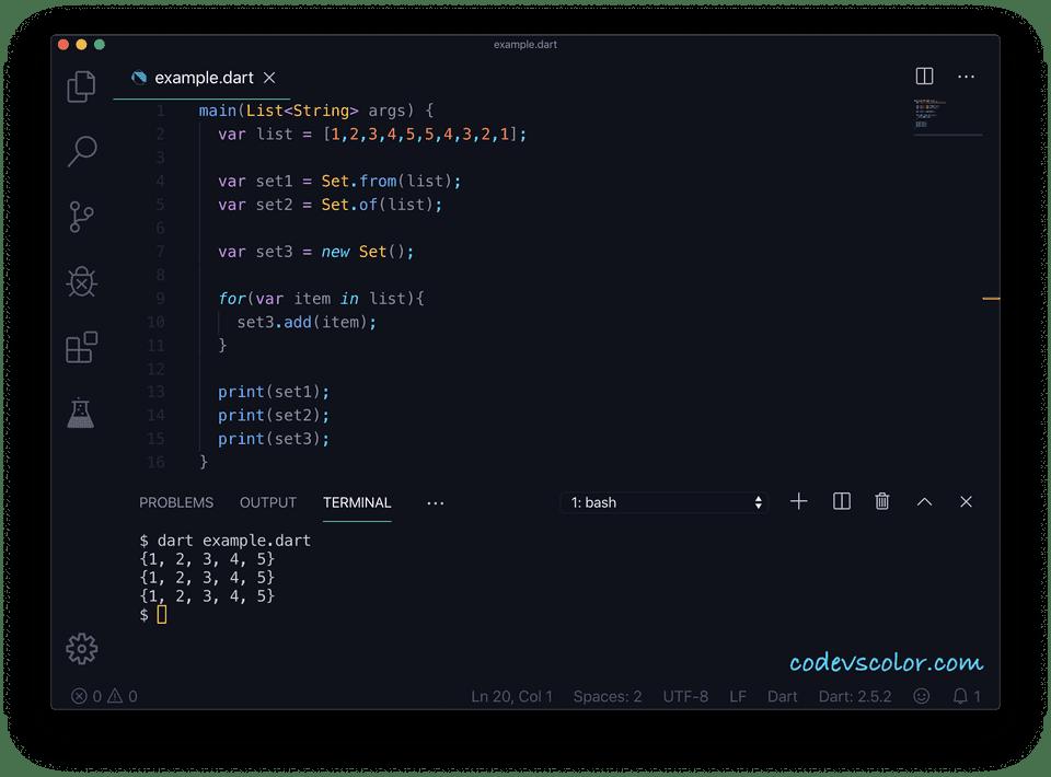 Dart example create set