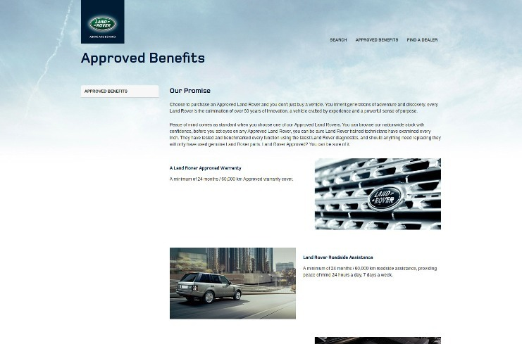 Approved benefits page
