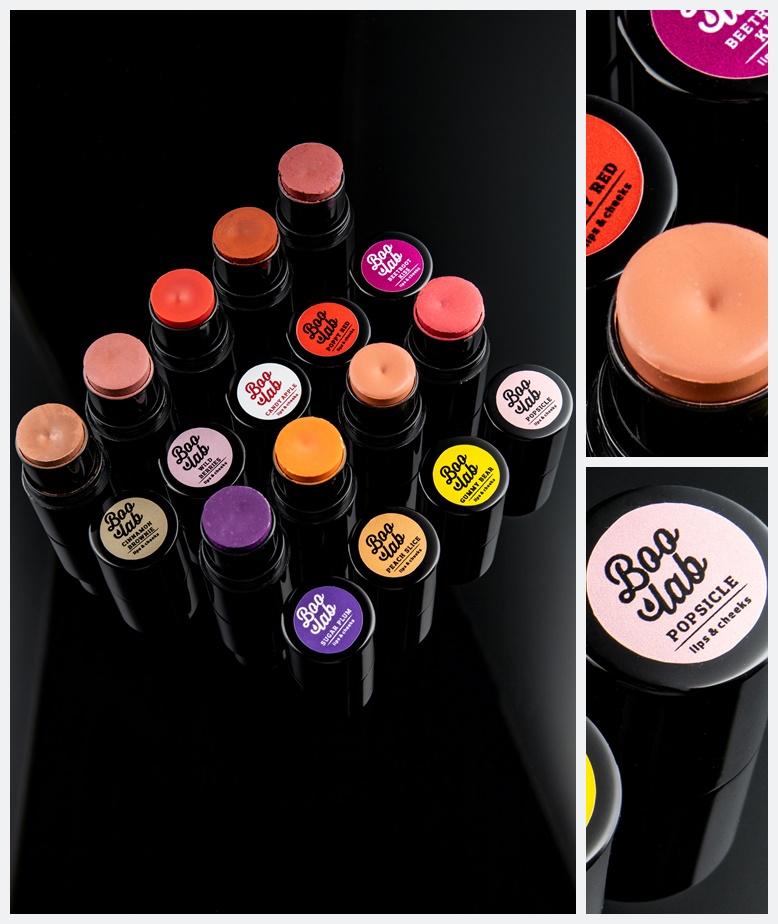 Boolab Lips & Cheeks sticks raznih boja u originalnoj ambalaži.