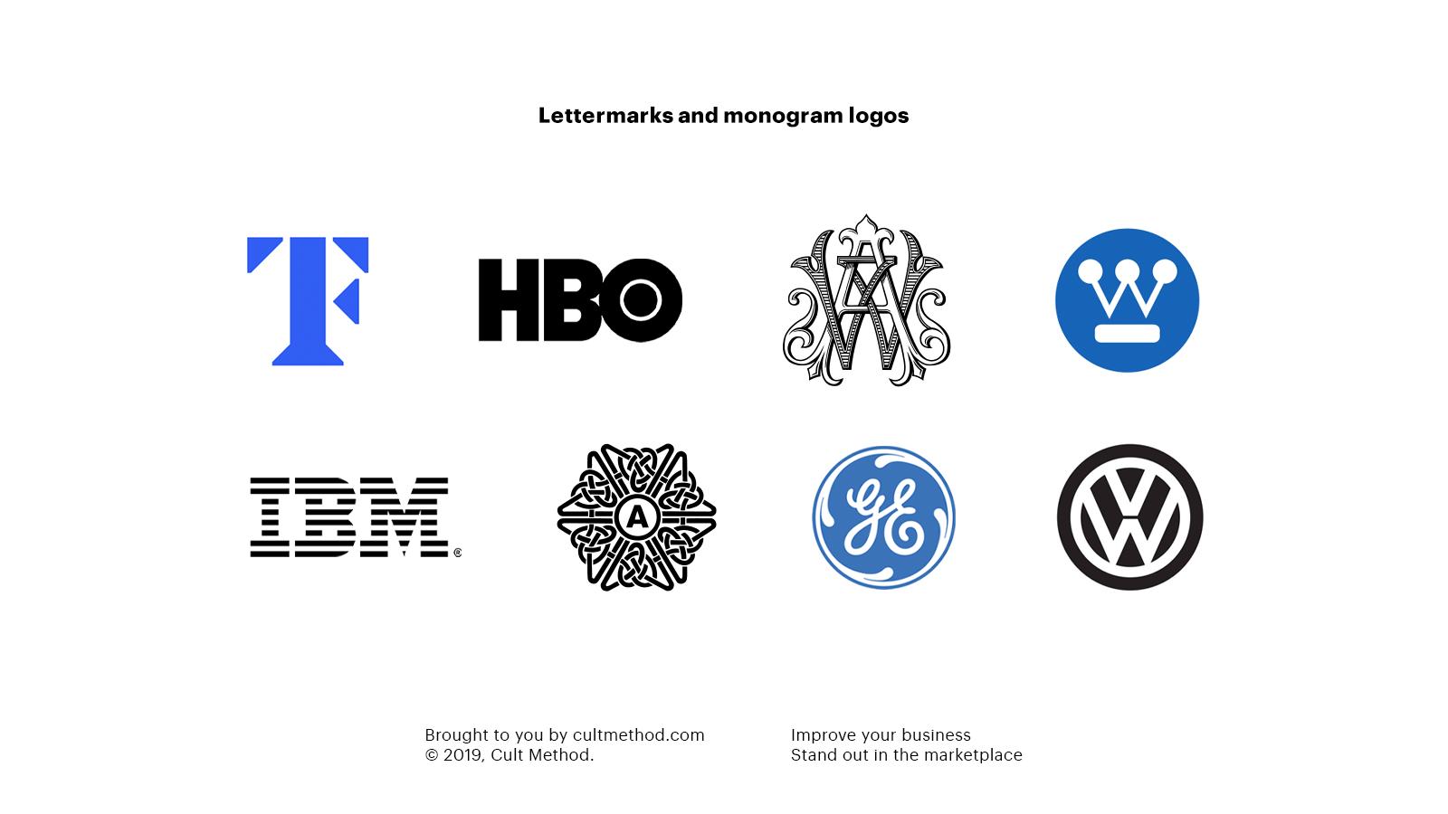 Different lettermarks and monogram logos