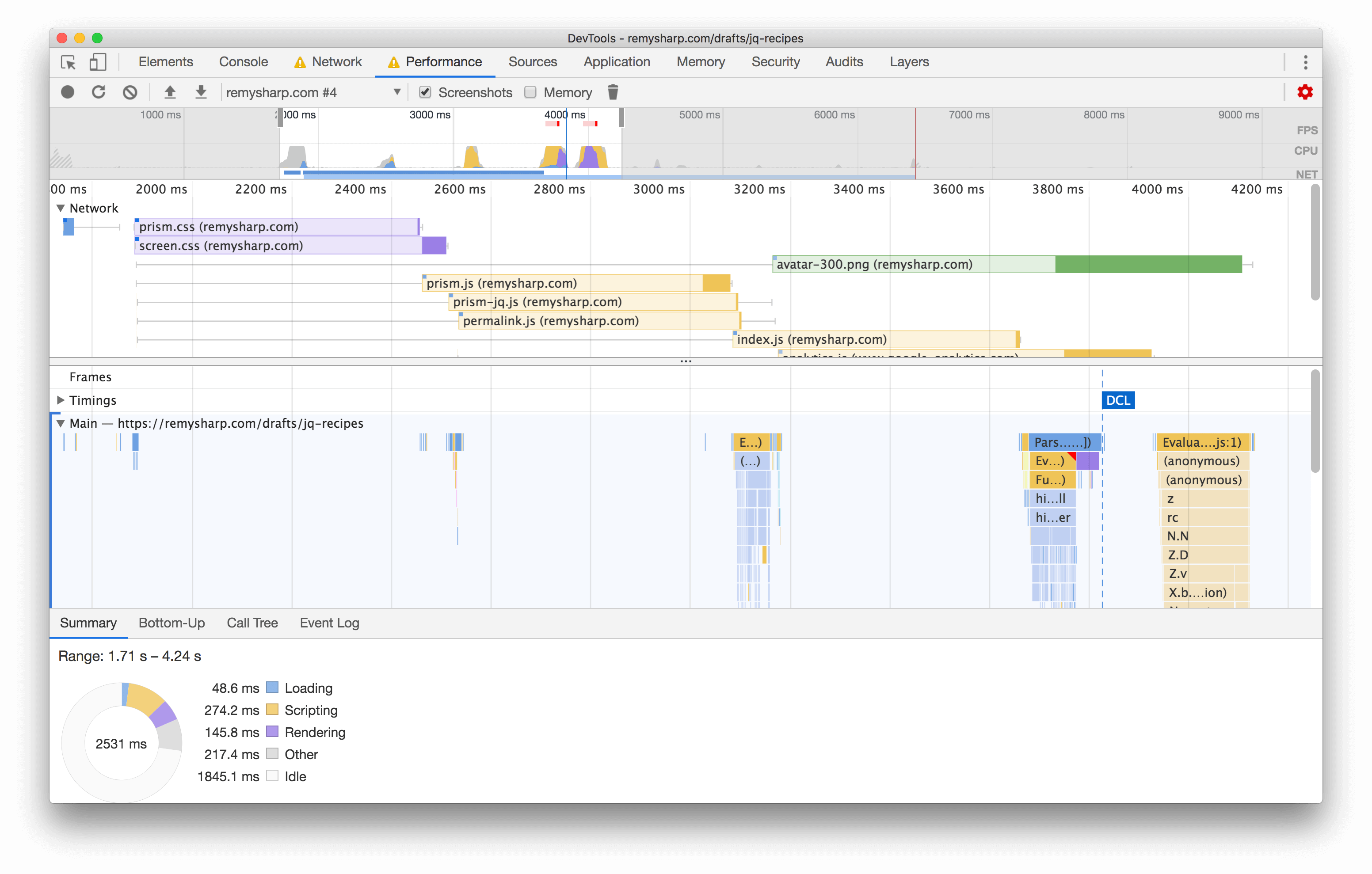 Client performance render