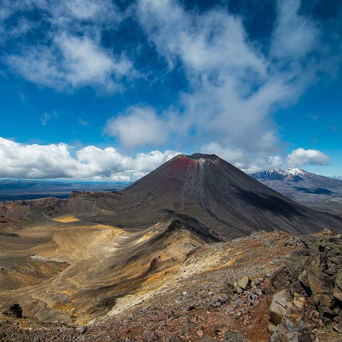 Mount Ngauruhoe & Mount Ruapehu seen from Mount Tongariro, New Zealand