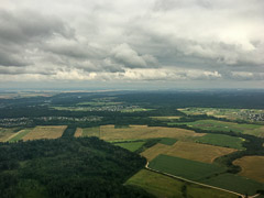 Approaching the clouds over Kaunas airport in Lithuania.  Kaunas, Lithuania, 2017