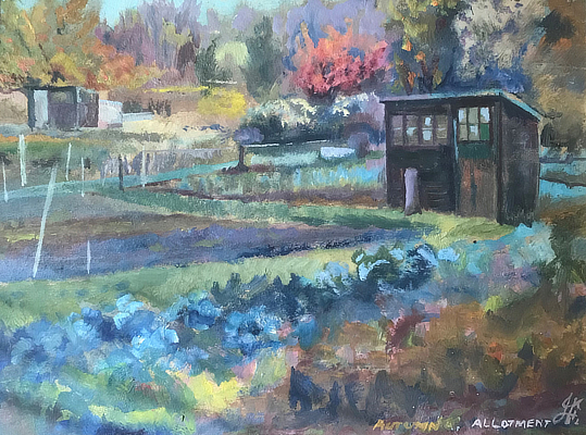 painting of autumnal allotment scene