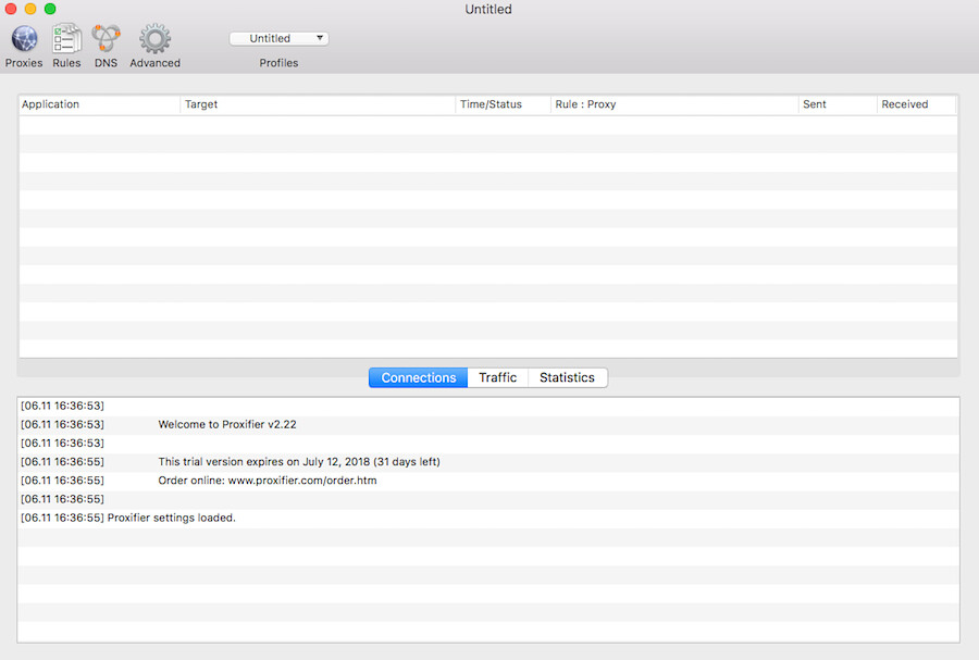 Screenshot of the Proxifier app