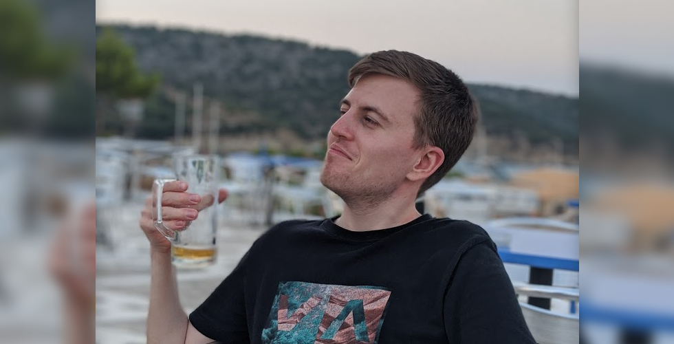 Me enjoying a beer in Greece