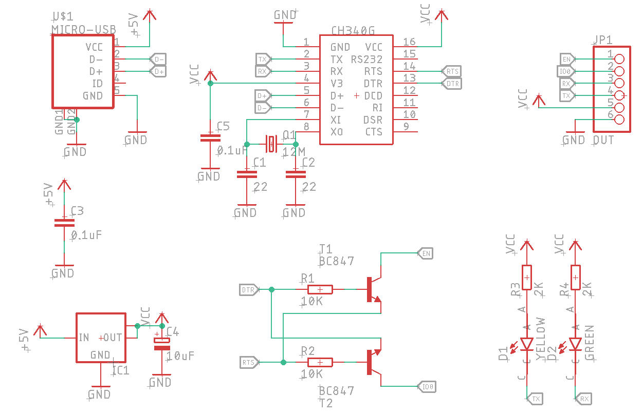 Schematic of the CH340G programmer