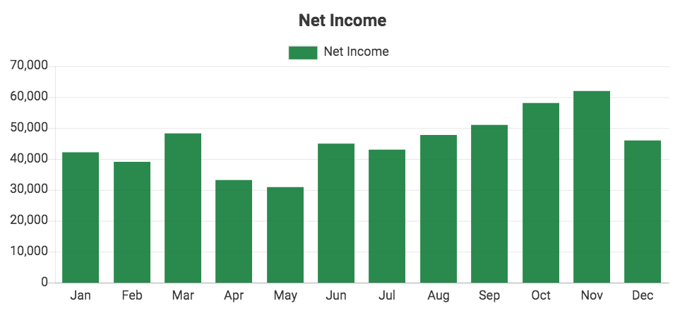 Custom QuickBooks chart showing Net Income
