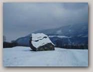 Glacial erratic in snow  » Click to zoom ->