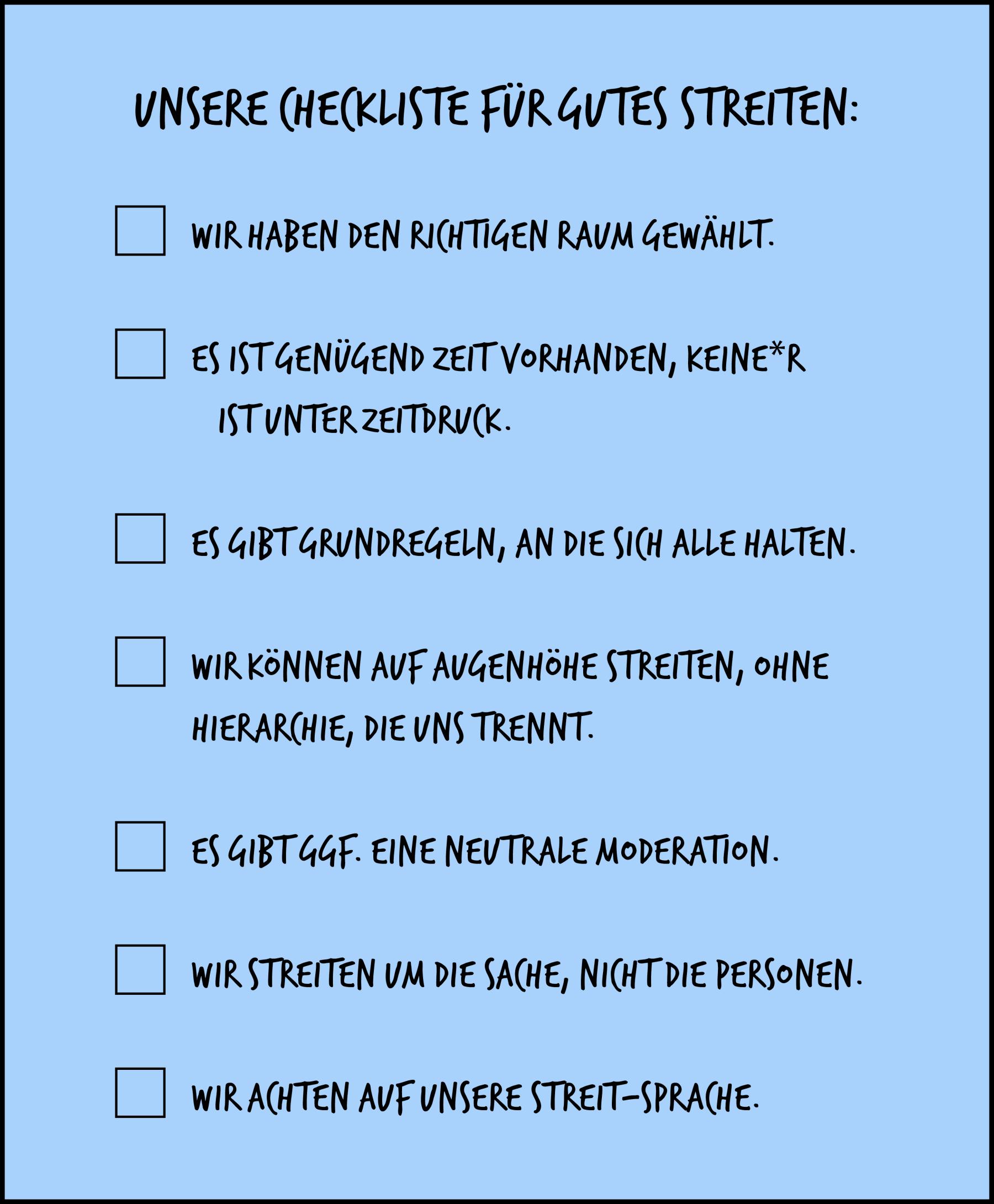 Eine Checkliste für gutes Streiten