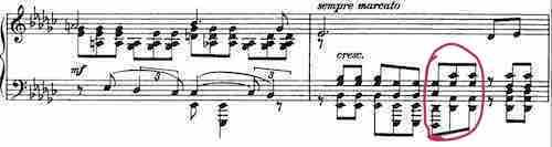 Modulating Dflat7 chord in the scrore