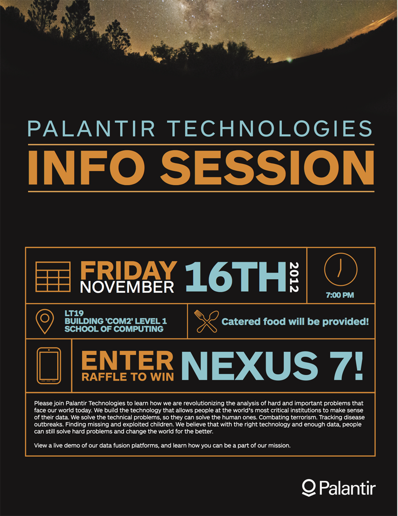 Posts nushackers to sign up for this talk and to apply for job opportunities at palantir please register at this link bitpalantir sg 2012 fandeluxe Images