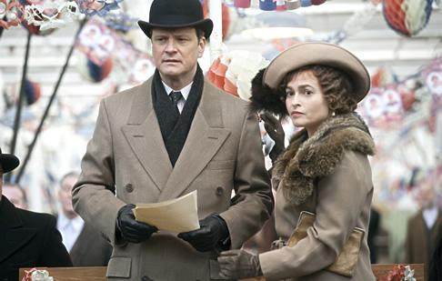 Colin Firth and Helena Bonham Carter filming The King's Speech