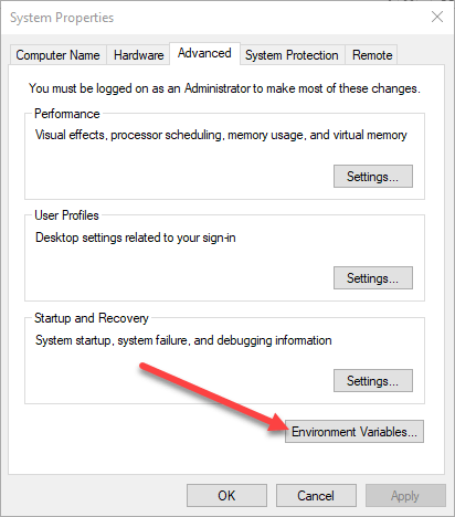 Variable Environment in Windows