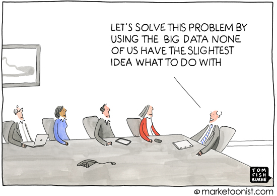 """Group of business folks around boardroom table and chair states, """"Let's solve this problem by using the big data none of us have the slightest idea what to do with."""""""