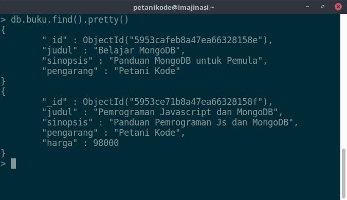 Menampilkan data MongoDB dengan fungsi pretty