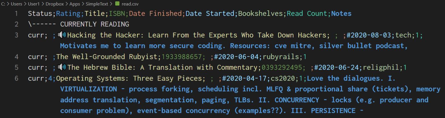 read.csv plain text reading list