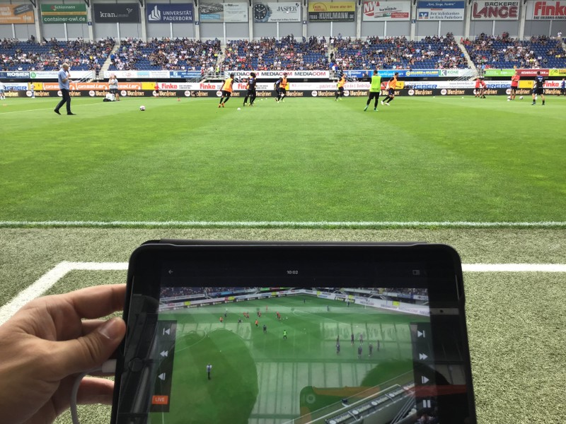 Live replay of football match on a tablet