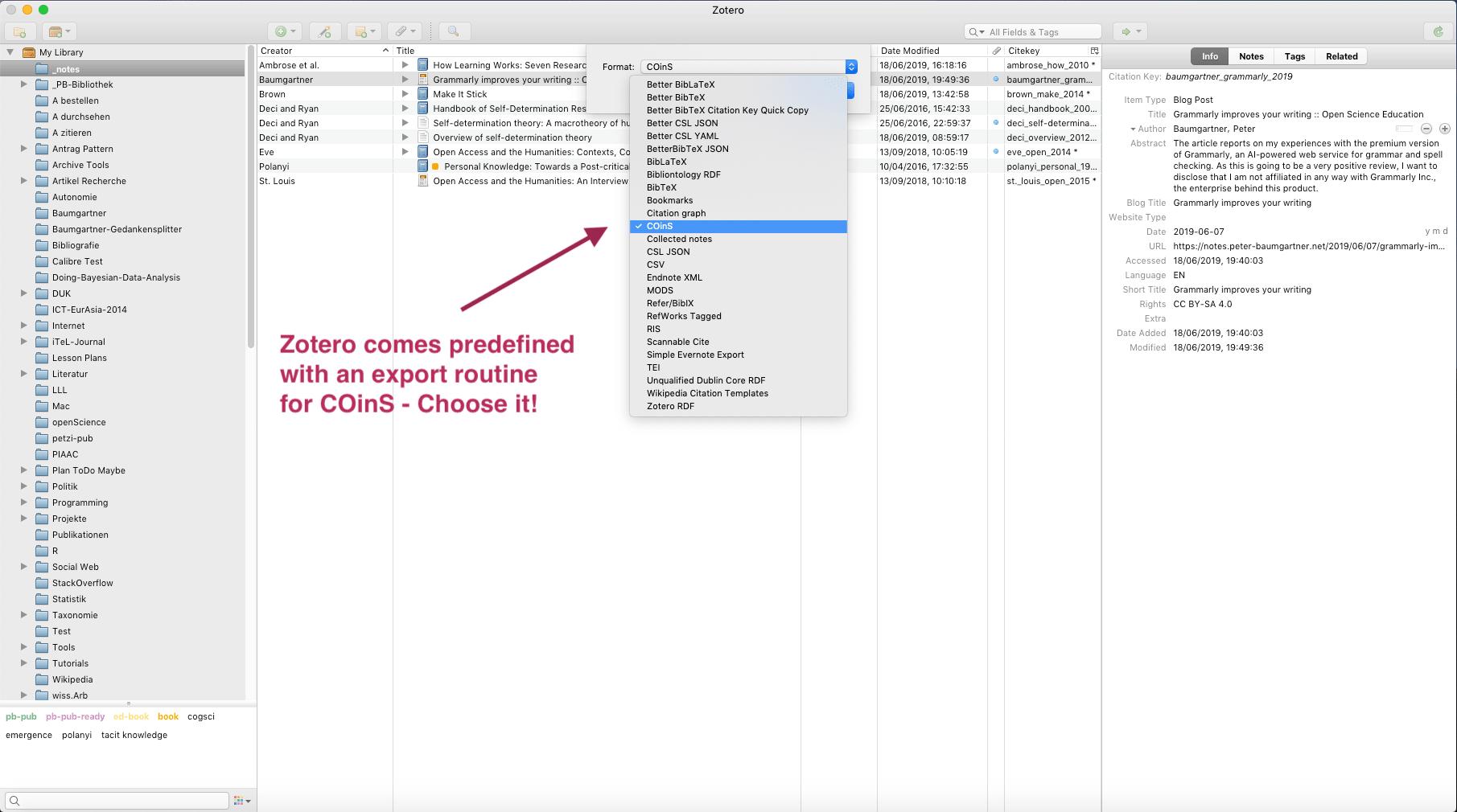 Screenshot shows choosing COinS as export translator.