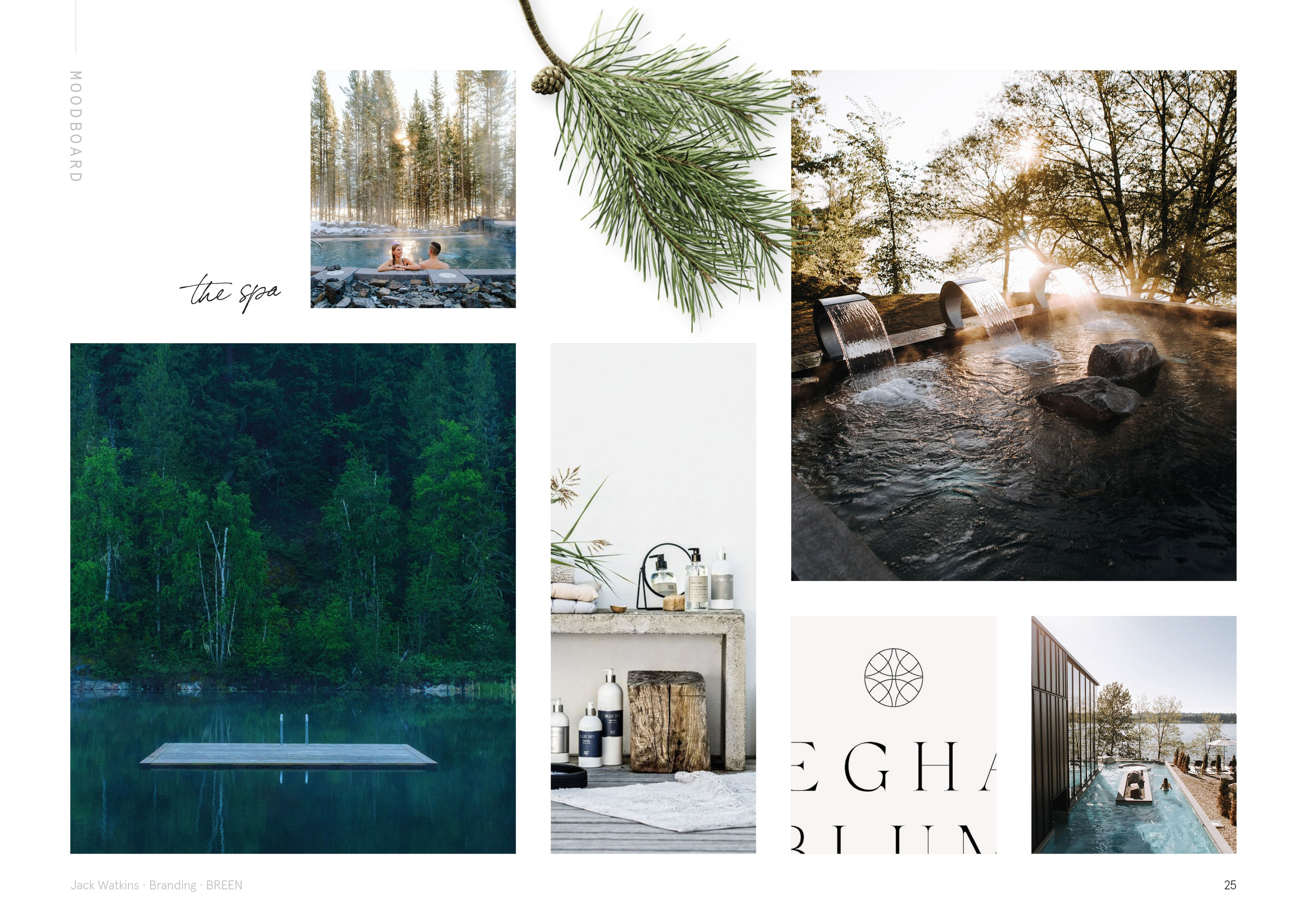Nordic spa moodboard for Geirangerfjord hotel and spa, BREEN, designed by Jack Watkins
