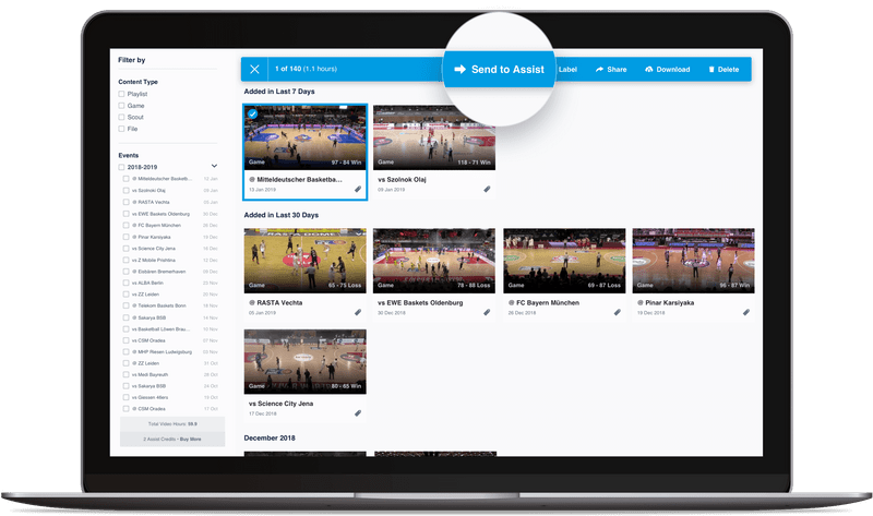 Hudl video library with send to Assist feature