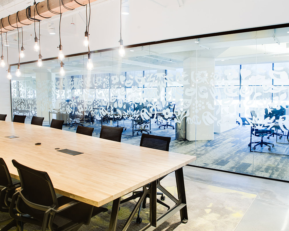 Office with Decorative Glass Wall