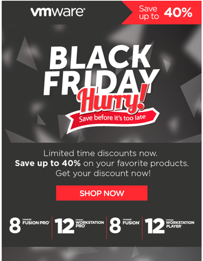 VMware Black Friday email