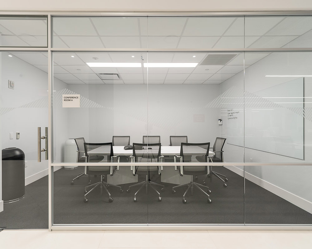 Office Room with Glass walls and Multi-Level Frame