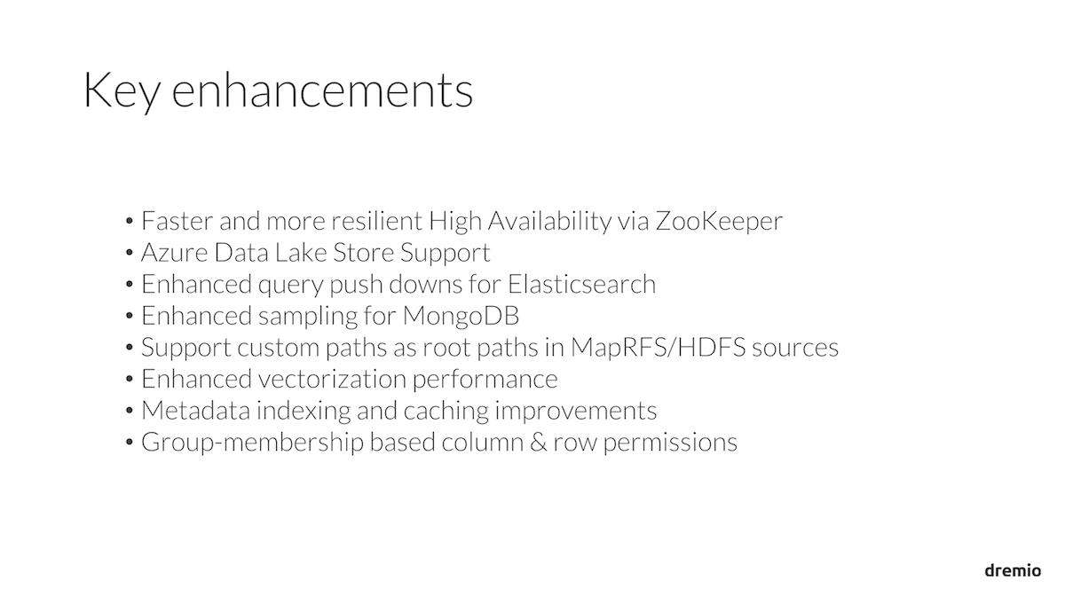 Dremio 1.4 Key Enhancements