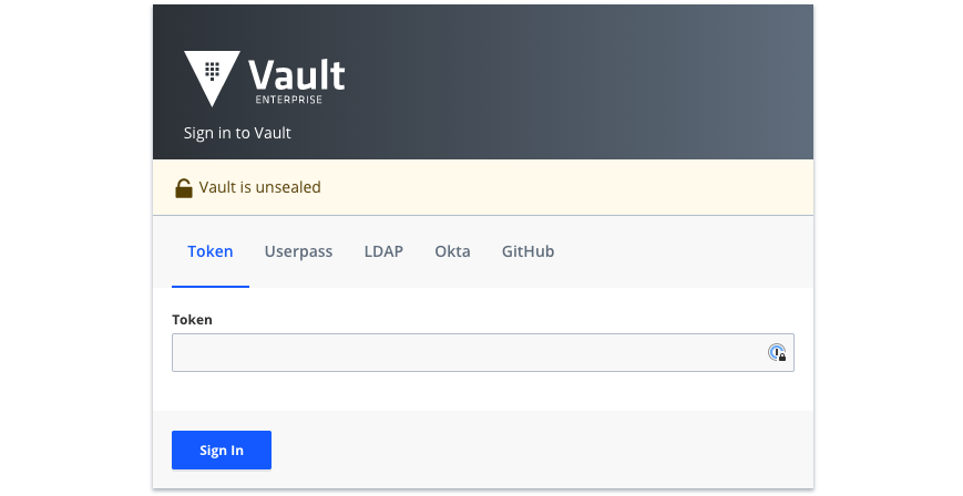 Vault Enterprise UI Login