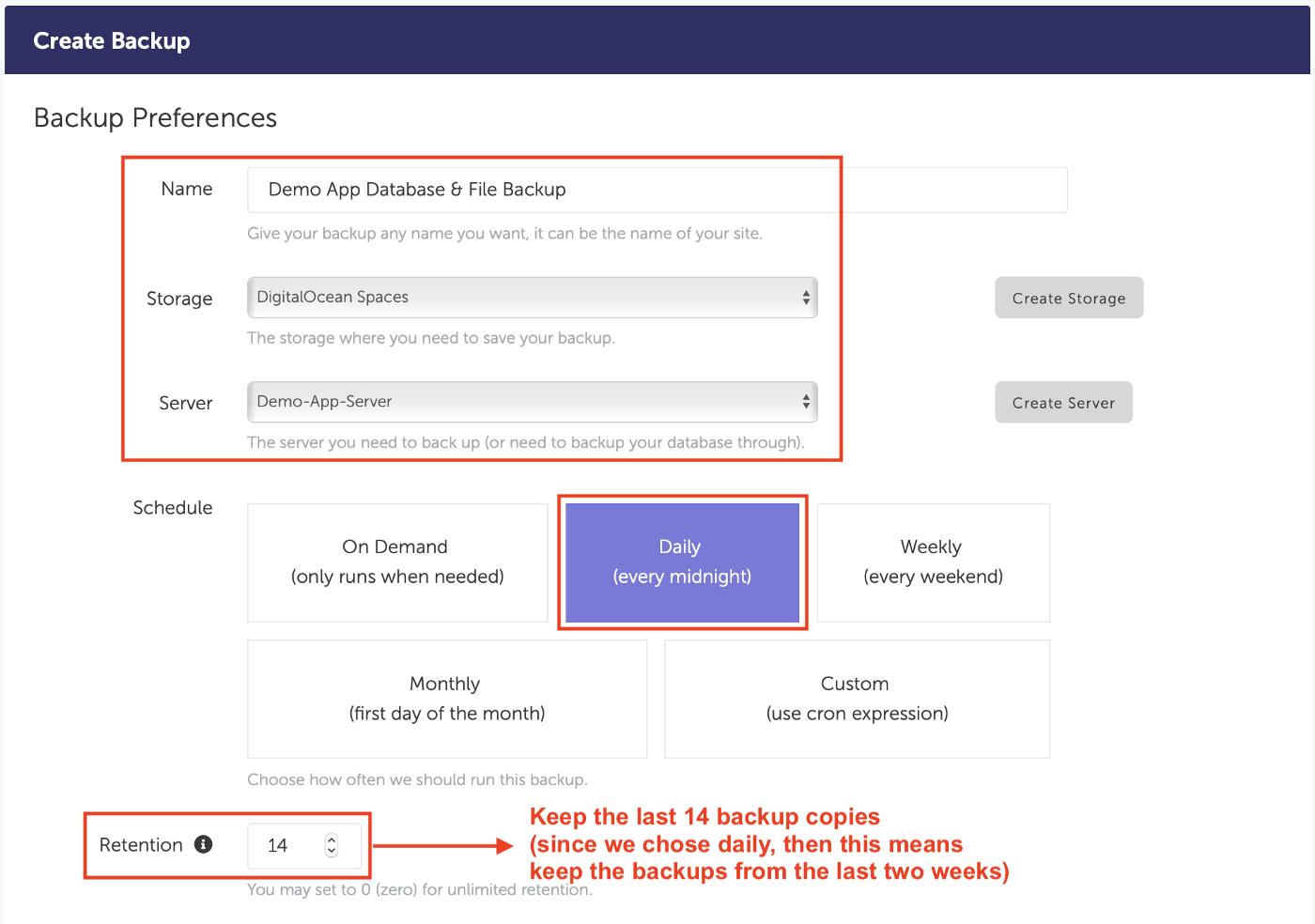 SimpleBackups - Create Backup