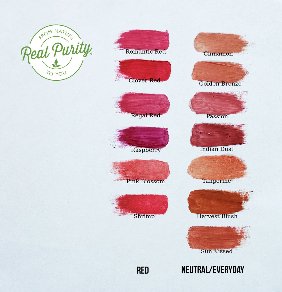 Real Purity Lipstick Swatches
