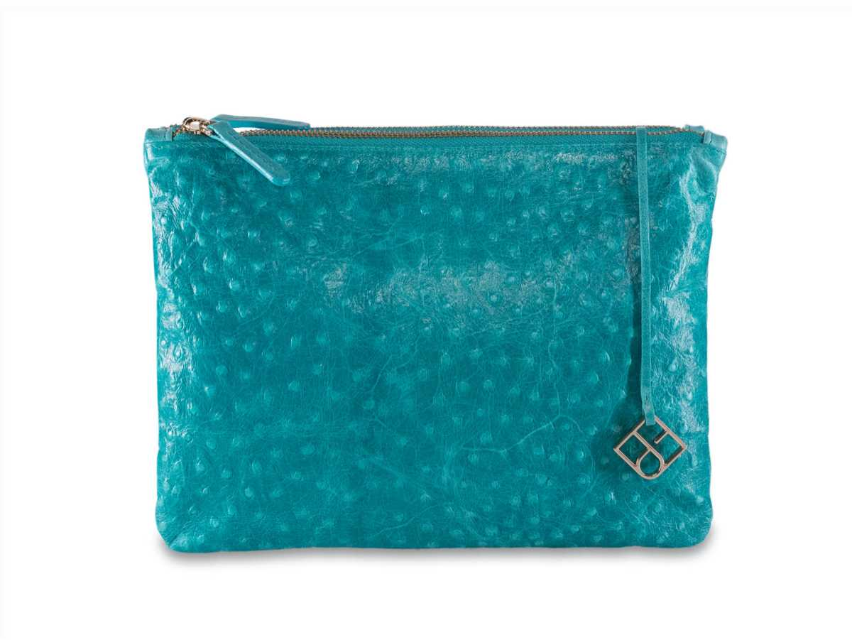 Peacock Pouch Double – turquoise ostrich-look