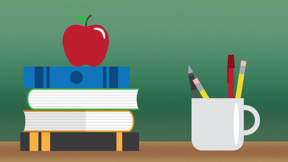 An illustration of a apple above three books.