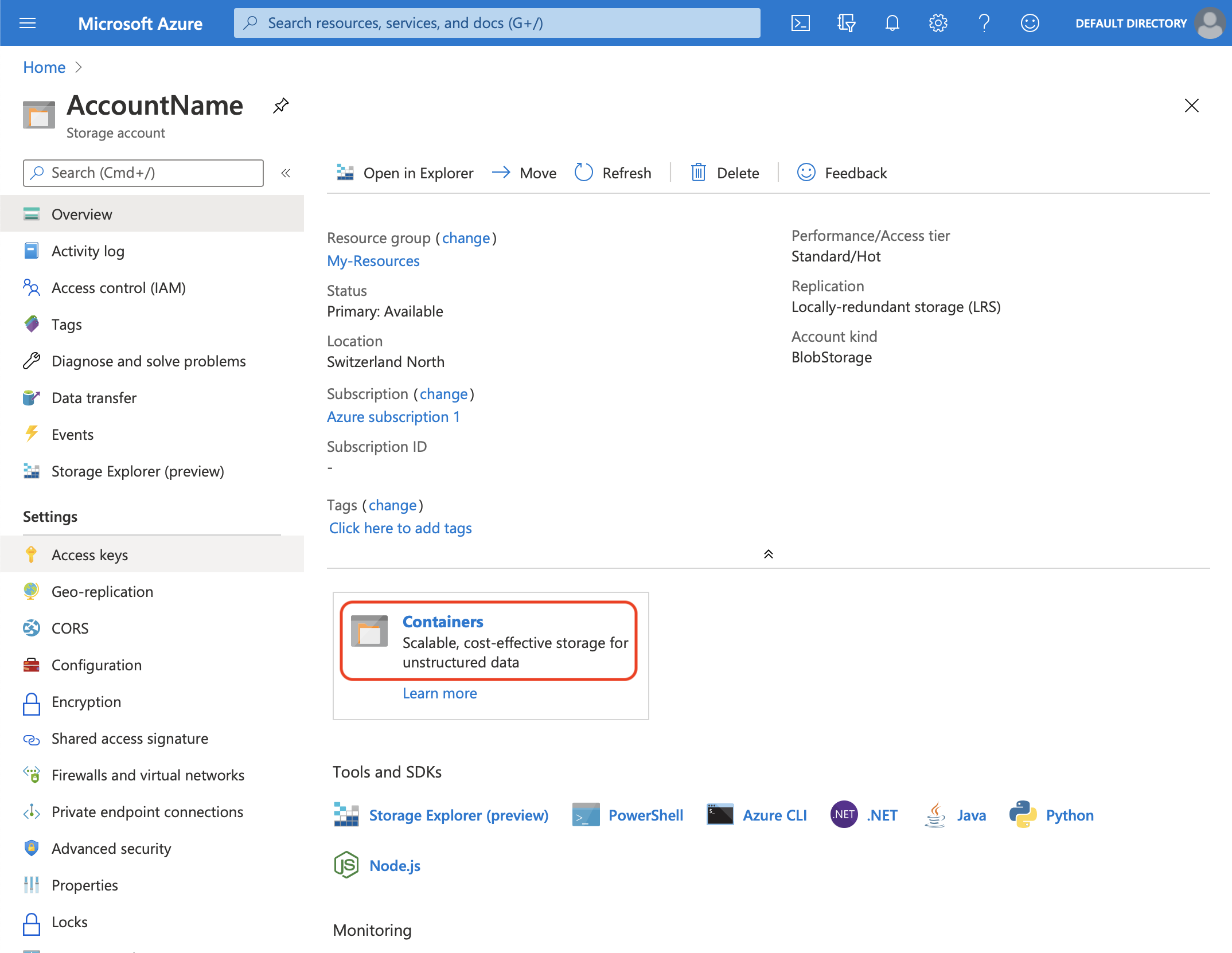 Microsoft Azure Storage Account