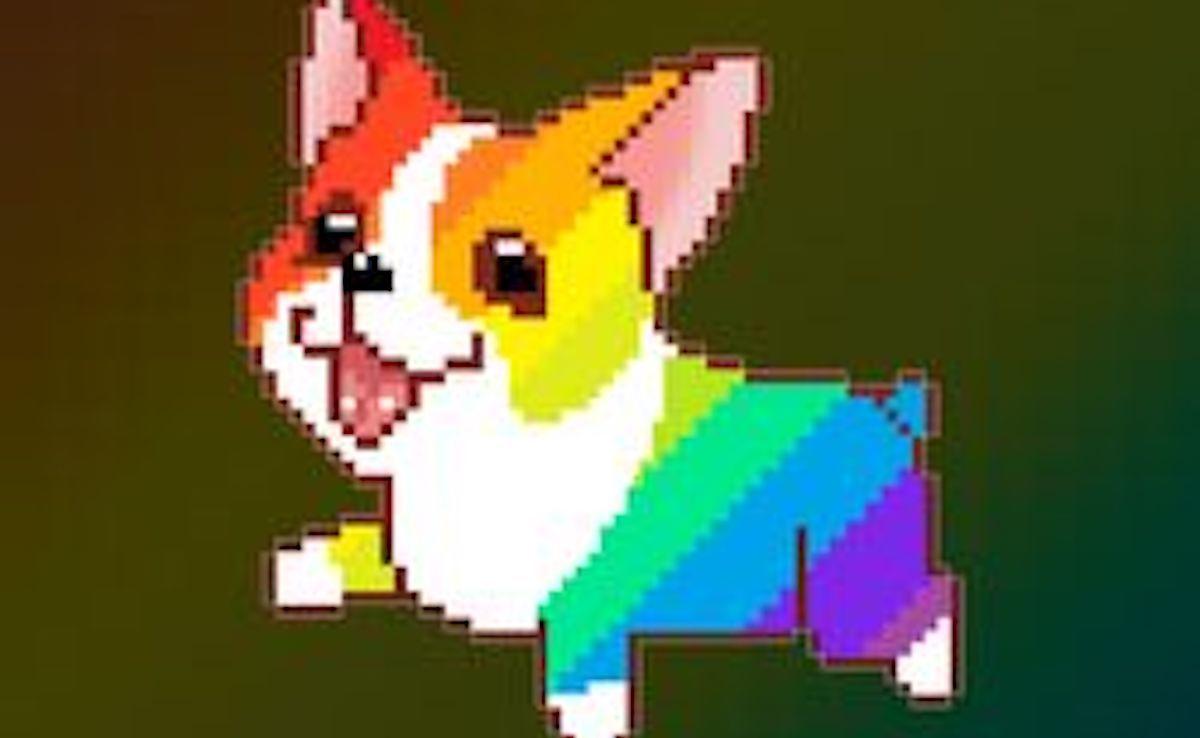 Rainbow corgi