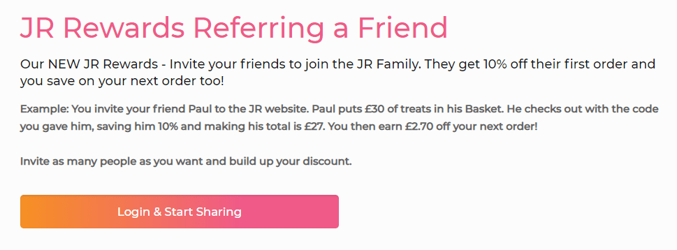 JR pets referral program