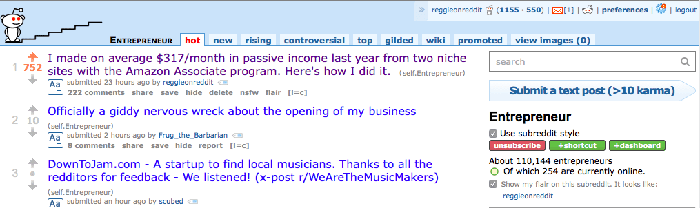 At the top of reddit on r/entrepreneur.